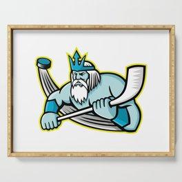 Poseidon Ice Hockey Sports Mascot Serving Tray
