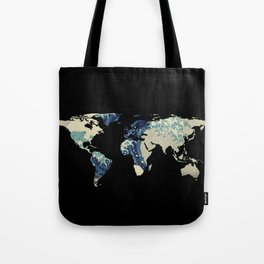 World Map Silhouette - The Great Wave Off Kanagawa Tote Bag