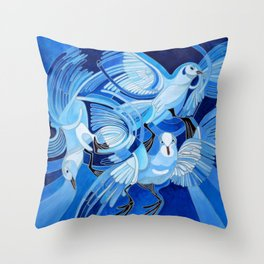 Muge's Pigeons in Blue  Throw Pillow