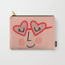 Heart Sunnies Face in Peach Carry-All Pouch