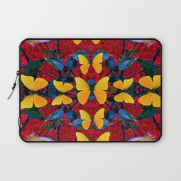 RED-WHITE ROSES & YELLOW BUTTERFLIES GARDEN Laptop Sleeve