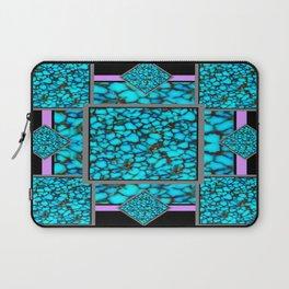 Western  Black-Purple Turquois Birthstone  Inlay Design Laptop Sleeve