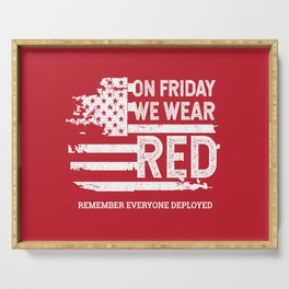 We Wear Red Friday American Flag Serving Tray