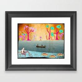 Row Boating to Monster Island Framed Art Print