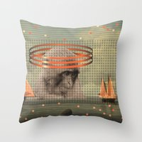 pixies Throw Pillows featuring this monkey gone to heaven by Rosa Picnic