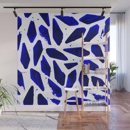Cobalt Blue Ink Blots Wall Mural