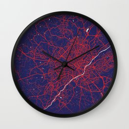 Limoges, France, Blue, White, City, Map Wall Clock