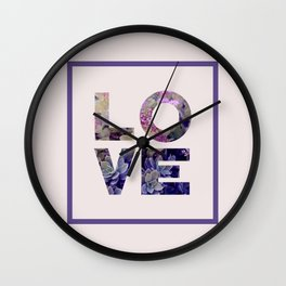 Succulent Uv LOVE #society6 #love #ultraviolet Wall Clock