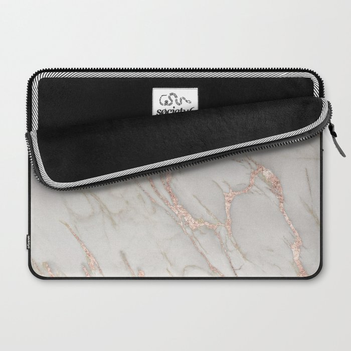 Marble Rose Gold Blush Pink Metallic by Nature Magick Laptop Sleeve