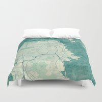 san francisco map Duvet Covers featuring San Francisco Map Blue Vintage  by City Art Posters