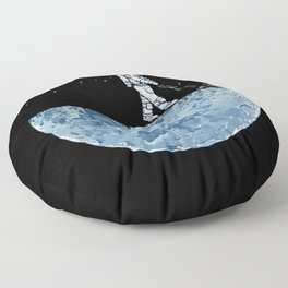 Astronaut on the Moon Floor Pillow
