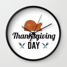 Happy Thanksgiving Day Turkey Wall Clock