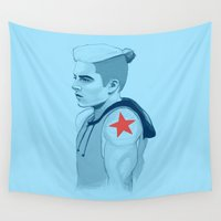 winter soldier Wall Tapestries featuring MCU - Punk Soldier by days & hours