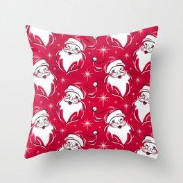 'Tis The Season Retro Santa Red White Pattern Throw Pillow