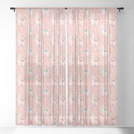 Lovely Llama on Pink Sheer Curtain