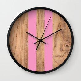 Wood Grain Stripes Pink #787 Wall Clock