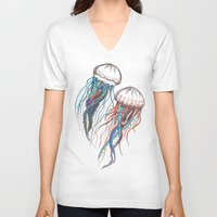 jellyfish V-neck T-shirts featuring JellyFish by Ana Grigolia