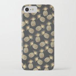 Modern chalk black elegant faux gold pineapple pattern iPhone Case