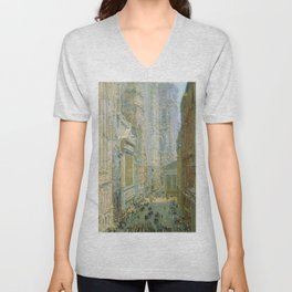 Classical Masterpiece 'Lower Manhattan - Broad and Wall Streets' by Frederick Childe Hassam Unisex V-Neck