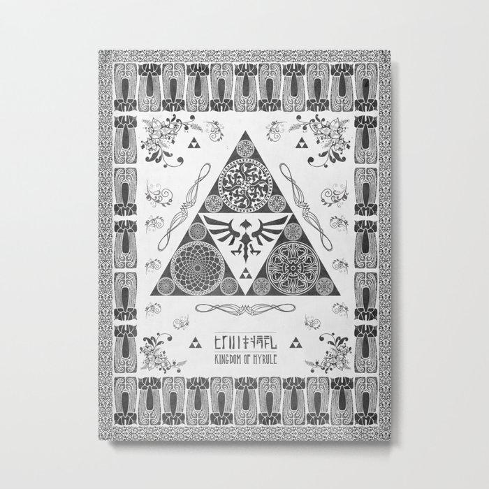 Legend of Zelda Kingdom of Hyrule Crest Letterpress Vector Art Metal Print