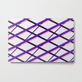 Deco Stripes Purple Metal Print