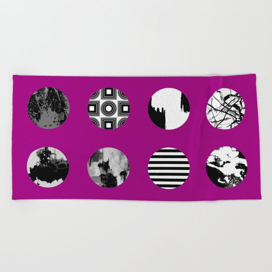Purple Delight - Black And White Eclectic Random Designs On A Purple Background Beach Towel