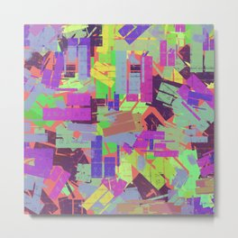 Retro Abstract Buildings Metal Print
