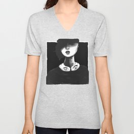 Contemporary Black and White Collar Unisex V-Neck
