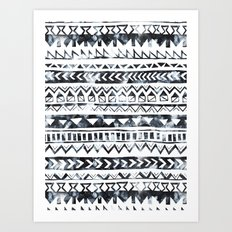 Tribal Stripe - B & W Art Print