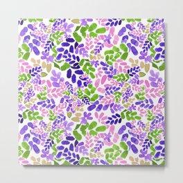 pinky purple leaves botanical pattern design Metal Print