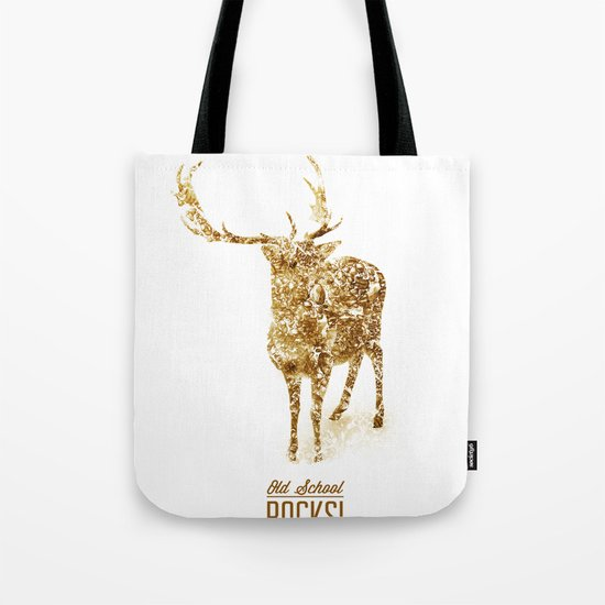 Old School Rocks! Gold Deer Version Tote Bag