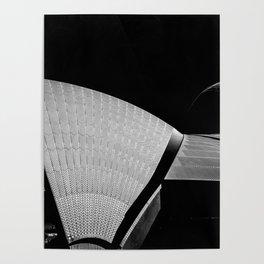 Sydney Opera House Sails Detail Mono Poster