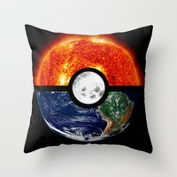 pokeball Throw Pillows featuring Galaxy Pokeball by Advocate Designs