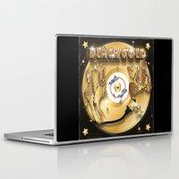 black and gold Laptop & iPad Skins featuring Black Gold by Nikola Kolobaric