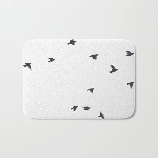 Ravens Birds in Black and White Bath Mat