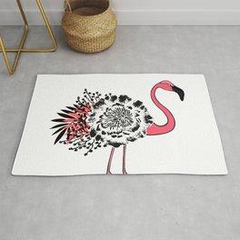 Pink flamingo floral. Rug