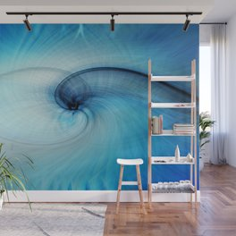 Blue Psychedelic Minimalist Fractal  Wall Mural