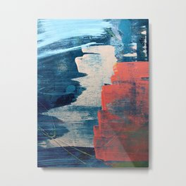 Deep Waters: a vibrant, minimal, abstract painting in pinks and blues by Alyssa Hamilton Art Metal Print