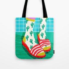 Sliders - memphis throwback retro neon 1980s 80s style pop art shoe fashion grid pattern socks Tote Bag