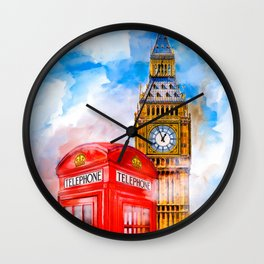 Dreaming of London - Big Ben And a Classic Red Telephone Booth Wall Clock