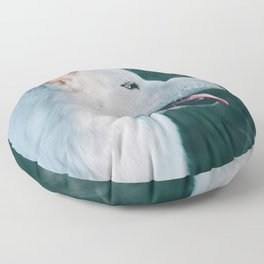 White Wolf Tongue Out (Color) Floor Pillow