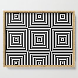 Square Optical Illusion Black And White Serving Tray