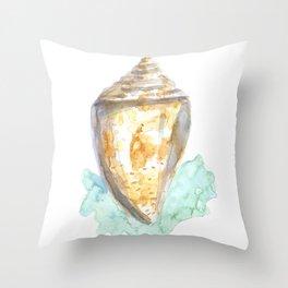 Watercolor Seashell Yellow Throw Pillow