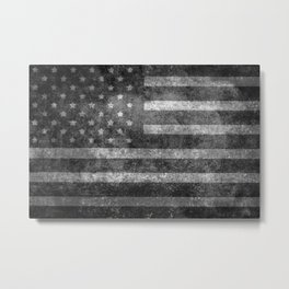 Black and White USA Flag in Grunge Metal Print