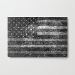Black and White USA Flag in Grunge Metal Print