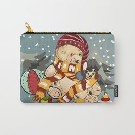 Christmas childish illustration with bear and snow Carry-All Pouch