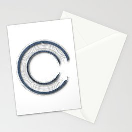 Navy blue abstract enso circle with mystical out of space look Stationery Cards