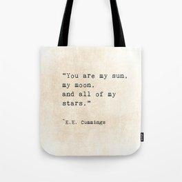 EE Cummings, Sun Moon Stars Quote, Love Tote Bag