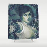 the legend of korra Shower Curtains featuring Korra by MATT DEMINO