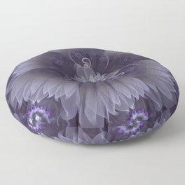 Amazing Fractal Triskelion Purple Passion Flower Floor Pillow